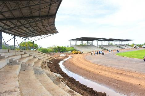 The new Jomo Kenyatta International Stadium under construction in Kisumu County
