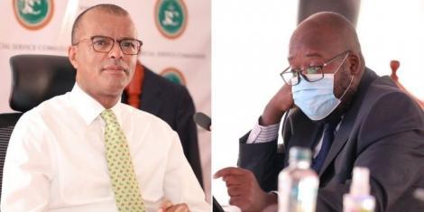 Justice David Majanja and senior counsel Phili Murgor during the Judiciary Service Commission (JSC) interviews on Friday, April 16.