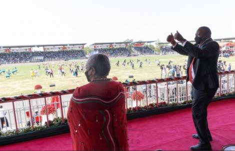 President Uhuru Kenyatta enjoys the Madaraka Day celebrations in Kisumu on Tuesday, June 1, 2021.