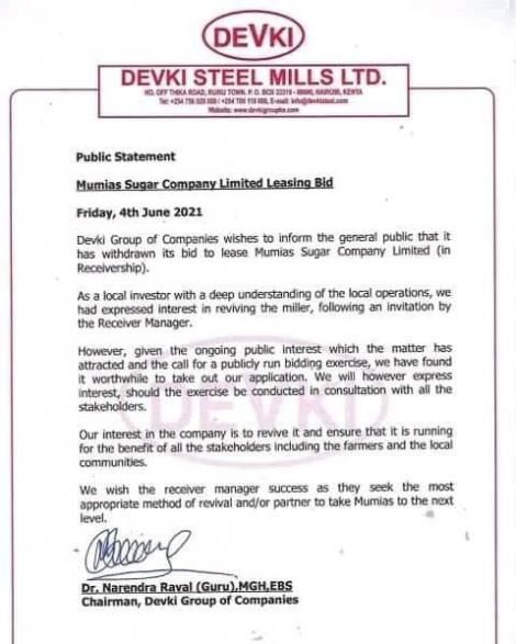 Devki statement on Withdrawal from Mumias Sugar Company revival deal. Source: Facebook
