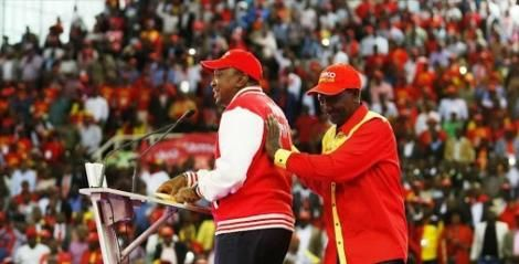 President Uhuru Kenyatta and his Deputy William Ruto at the merger to form Jubilee Party in September 2016.