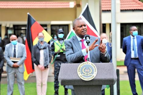 Directorate of Criminal Investigations Boss George Kinoti addresses guests and the press during the ceremony at the DCI Headquarters in Kiambu.
