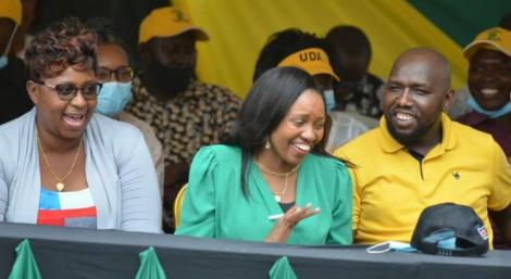 Malindi MP Aisha Jumwa (Left), Nakuru Senator Susan Kihika (centre) and Elgeyo Marakwet Senator Kipchumba Murkomen