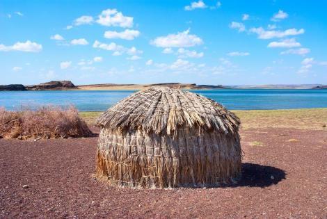 Photo of a traditional El Molo hut near lake Turkana taken on September 11, 2020.