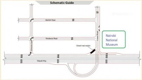 Photo of schematic guide describing the routes around Nairobi National Museum taken on June 26, 2021.