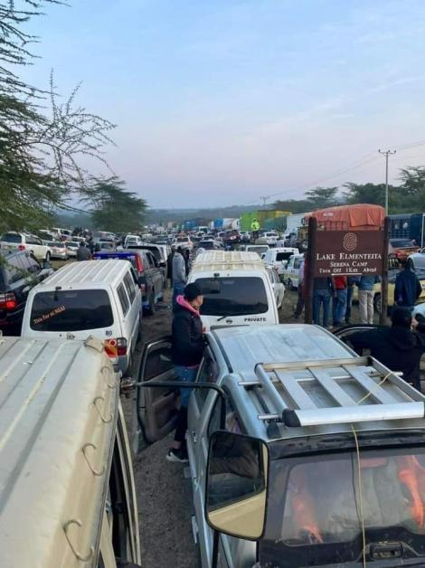 Picture of the ongoing traffic jam