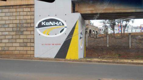 A Kenya National Highways Authority (KeNHA) sign on a highway.