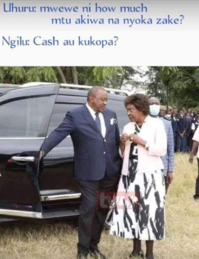A meme resulting from a viral photo of President Uhuru Kenyatta (left) and Kitui Governor Charity Ngilu