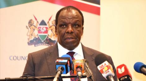 Kakamega Governor Wycliffe Oparanya adressing the media after the Council of Governors meeting on