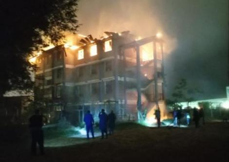 Police officers at Highway Secondary School after fire broke out
