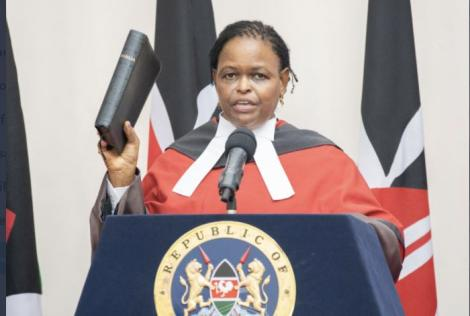 Martha Koome during her swearing in on Friday, May 21, at State House.