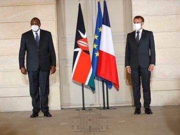 President Uhuru Kenyatta and his France counterpart Emmanuel Macron at Elysee Palace in Paris, France on Tuesday evening, September 30.