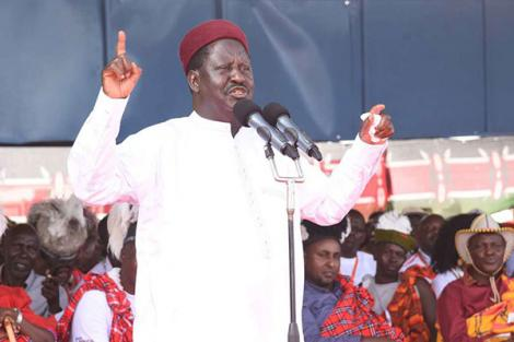 Orange Democratic Movement leader Raila Odinga addresses participants during the Turkana Tourism and Cultural Festivals at Ekalees Centre in Turkana County on August 16, 2019.