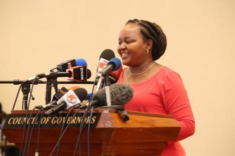 Ann Waiguru addressing the council of governors. Source: Facebook