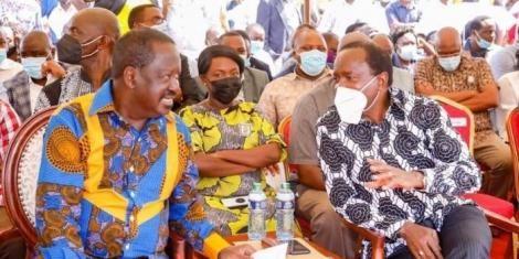 ODM leader Raila Odinga (L) and Wiper leader Kalonzo Musyoka during the burial of Former Kibwezi MP Kalembe Ndile on Friday, June 11.