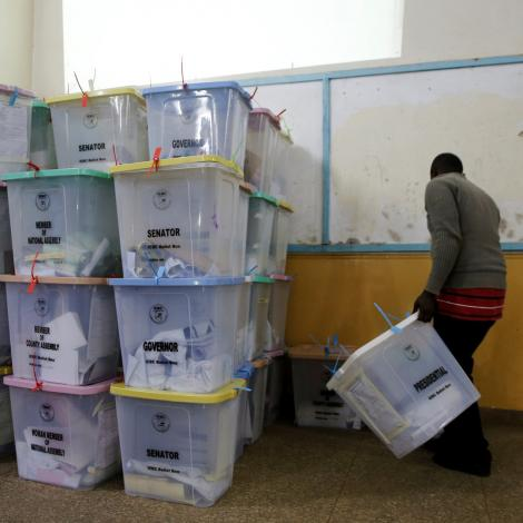 Undated image of IEBC ballot boxes after voters had cast their votes