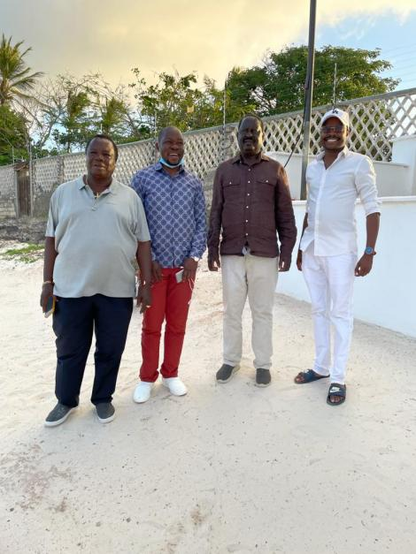 ODM leader Raila Odinga meeting with Cotu boss Francis Atwoli, MP Caleb Amisi & Davidson Wakairu in Kilifi on July 20, 2021