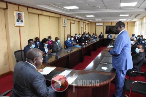Interior CS Fred Matiang'i in a meeting with Meru Governor Kiraitu Murungi and miraa traders representatives at Harambee House on November 2, 2020
