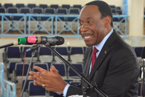 KFCB CEO Ezekiel Mutua addressing a forum at Kenyatta University in Nairobi on February 22, 2020