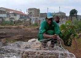 Photo of a worker of Komb Green Solutions fixing a gabion along the Nairobi River taken on May 14, 2021.