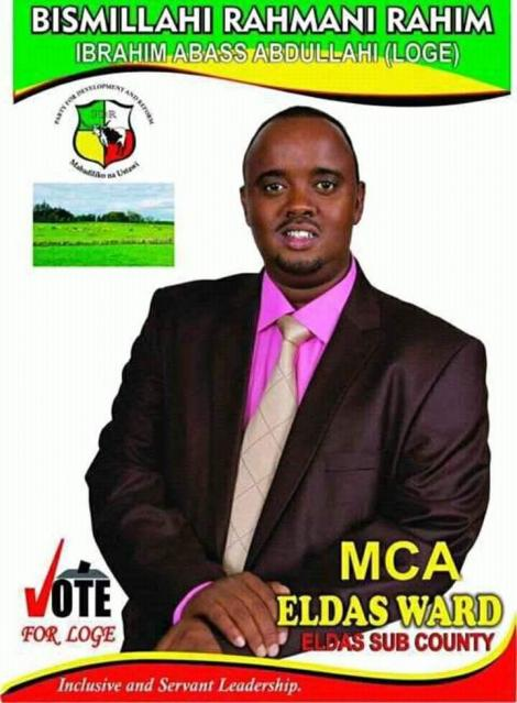 A poster for Ibrahim Abass vying for the Wajir MCA position.