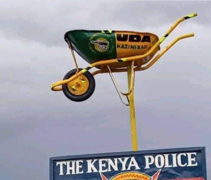 The UDA wheelbarrow at Kiptagich Police Station in Kuresoi.
