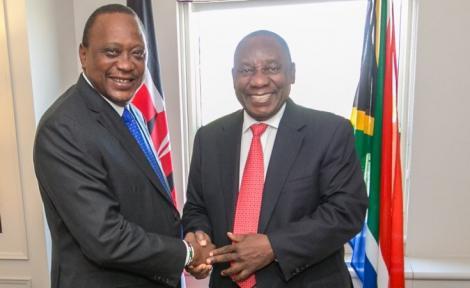 An image of President Uhuru Kenyatta and South African President Cyril Ramaphosa