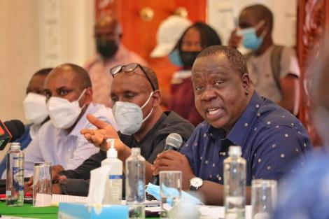 CS Fred Matiang'i before a parliamentary committee in Mombasa on August 13, 2021