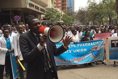 Kenyans medics demonstrating