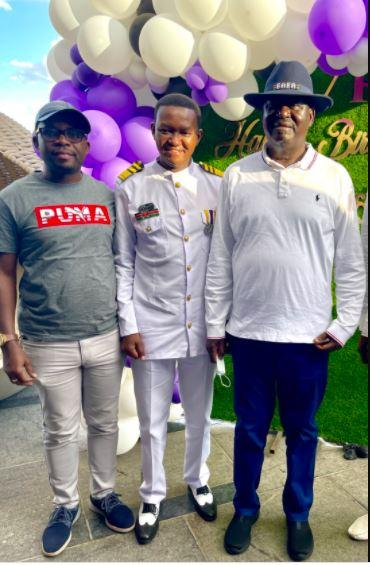 Former Prime Minister Raila Odinga (right), Machakos Governor Alfred Mutua (center) and politician Silas Chepkeres Jakakimba at Mutua's birthday party.