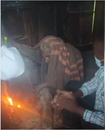 An elderly man, Kunene, who had been living in deplorable conditions before he was rescued by an NGO on Thursday, August 5.