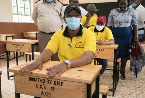 Interior PS Karanja Kibicho donating desks to St Peter's Secondary Gathuthiini students on February 27, 2021