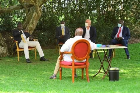 Deputy President William Ruto, Kapseret MP Oscar Sudi, another delegate, David Langat and President Yoweri Museveni in Uganda.