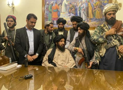 Armed Taliban members shortly after taking over Afghanistan.