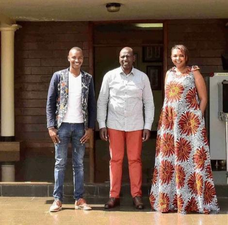 From left to right: Vernacular musician Samidoh, Deputy President William Ruto and lawyer Karen Nyamu