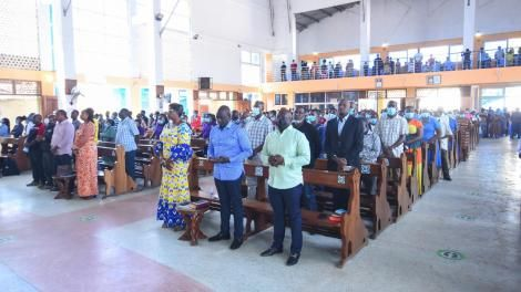 Ruto (middle) at a Sunday mass at the St. Patrick's Catholic Church in Kilifi North on July 18, 2021.