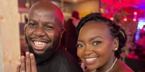Comedian Esther Kazungu and husband James Kibunja show off their rings after being pronounced husband and wife on Friday, September 24.