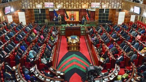 Lawmakers seated in Parliament