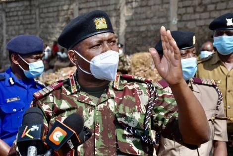 Nairobi Regional Commissioner James Kianda leading the demolition of structures at Deep Sea on Friday, October 1, 2021.