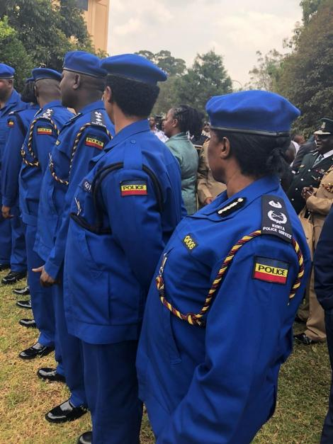 Police officers wearing new police uniforms