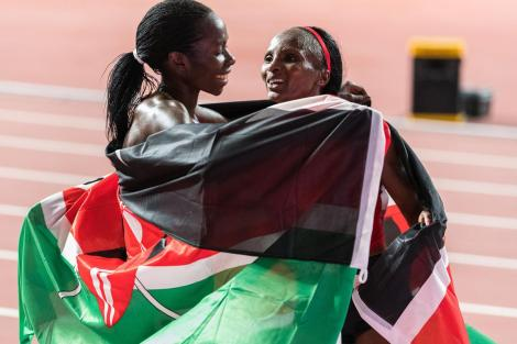 Margaret Chelimo Embraces Hellen Obiri During The World Championship in Doha, Qatar