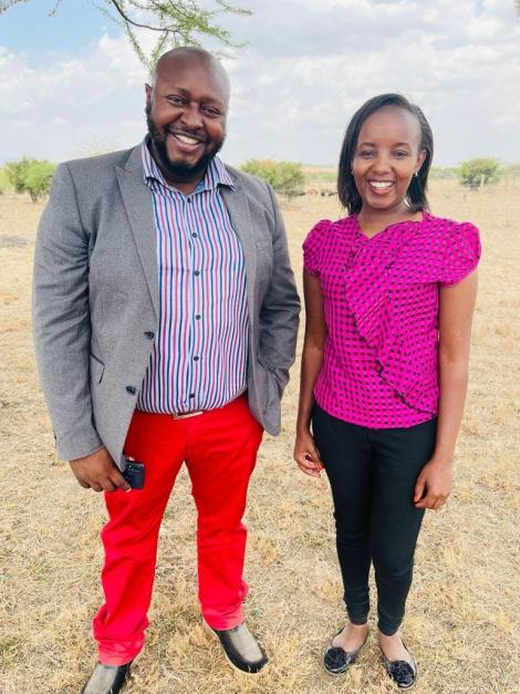 Businessman only known as Stanley and Youtuber Monica Kagoni take a photo.