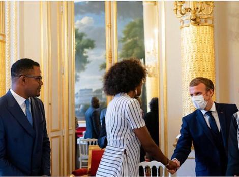 Adelle Onyango meeting French President Emmanuel Macron on Tuesday October 5