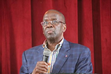Former Chief Justice Willy Mutunga addresses students during a public lecture on January 29, 2020, at the Kenya Methodist University (KeMU).