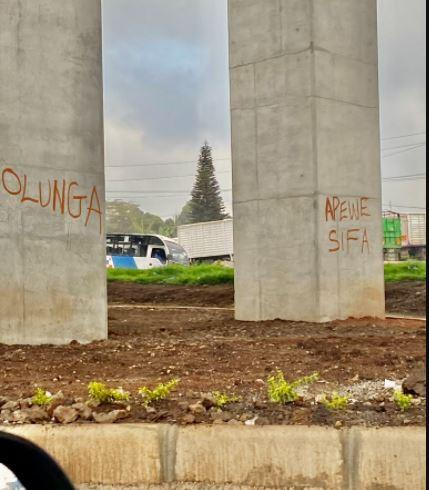 Graffiti on Nairobi Expressway pillars photographed on Wednesday, October 13, 2021