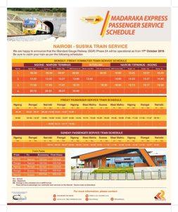 SGR Phase 2A Nairobi to Naivasha SGR Schedule