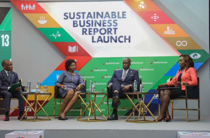From left, Safaricom PLC CEO Peter Ndegwa Melvin Marsh International CEO Flora Mutahi and Nairobi Securities Exchange chairman Kiprono Kittony on a panel discussion during the Safaricom PLC 2020 Sustainability report launch at Michael Joseph Centre in Nairobi