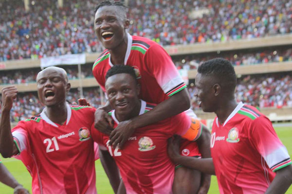 Harambee Stars players celebrate during their 2019 Africa Cup of Nations qualifier against Ethiopia at the Moi International Sports Centre, Kasarani on October 14, 2018.