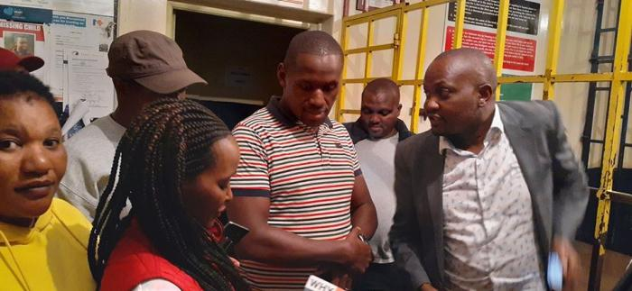 Gatundu South MP Moses Kuria flanked leaders addressing the media outside Kilimani Police Station on Saturday, January 11, 2020