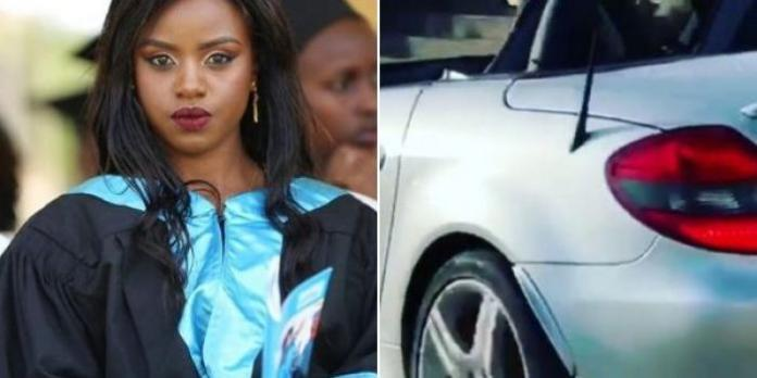 A side by side photo of Sonko's daughter, Janetta Nyamu and a Mercedes Benz she was gifted by her father